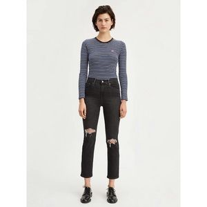 {Levi's} 724 High Rise Crop Ripped Jeans Sz 29